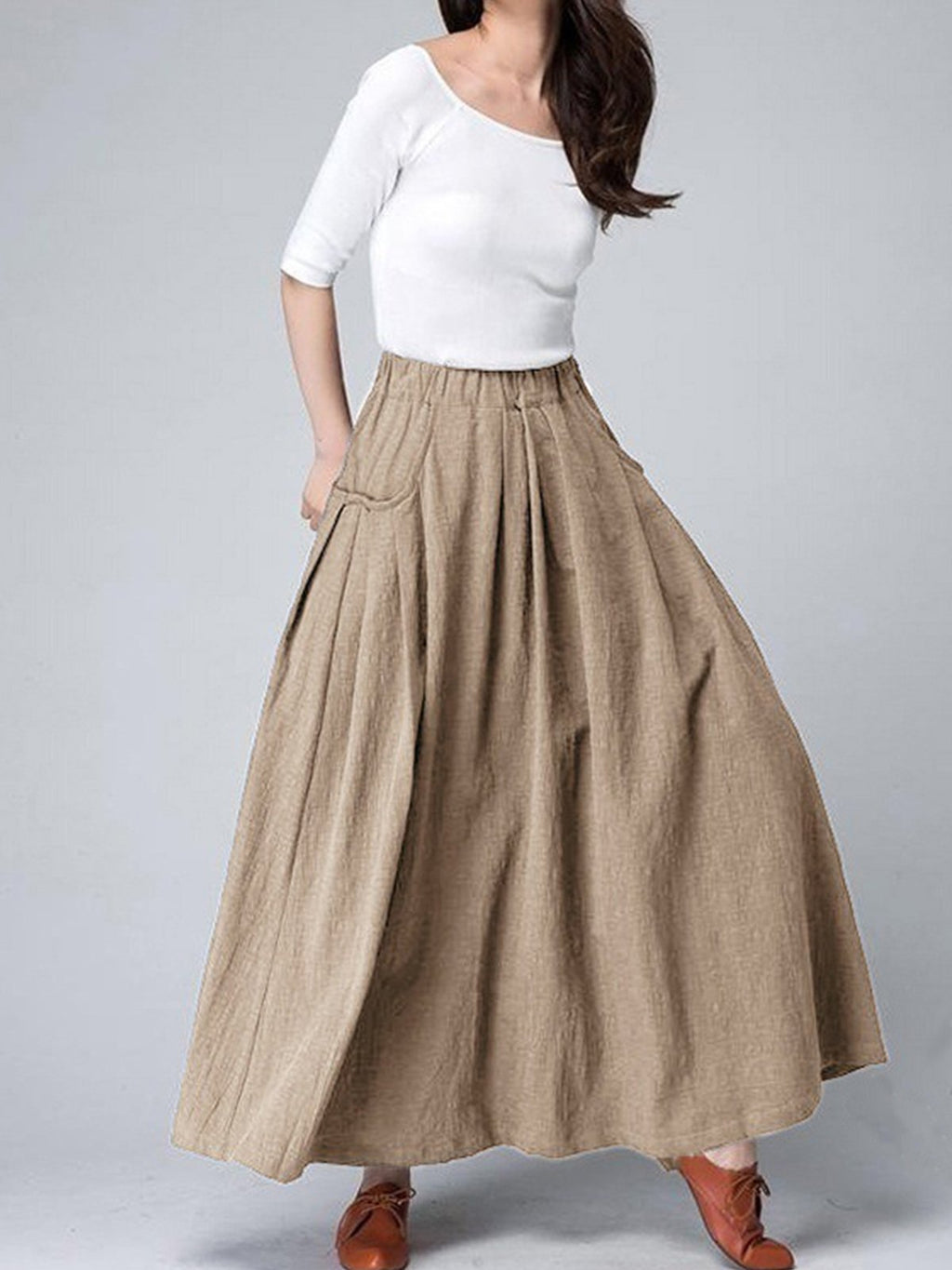 Side Pocket Pleated Full-Length Solid Skirt