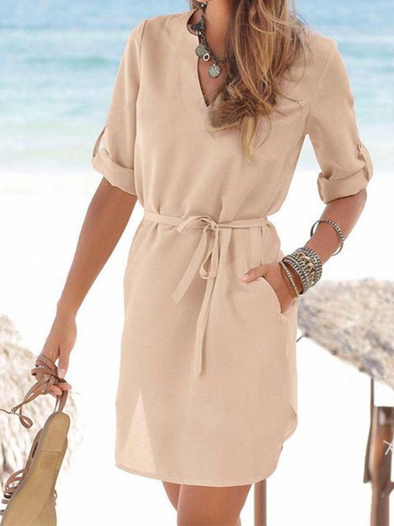Solid V Neck Self-Tied Elegant Pocket Dress - Popross