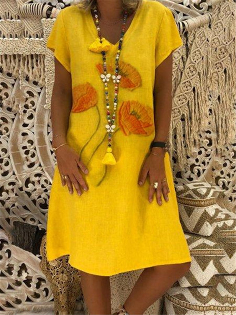 Yellow Summer V Neck Floral Print Linen/Cotton Dress