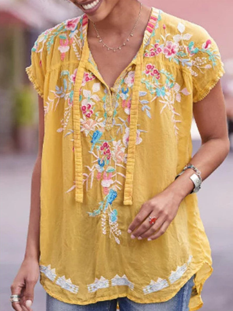 Short Sleeve Casual Floral Print Patchworj V Neck Shirts Tops - Popross
