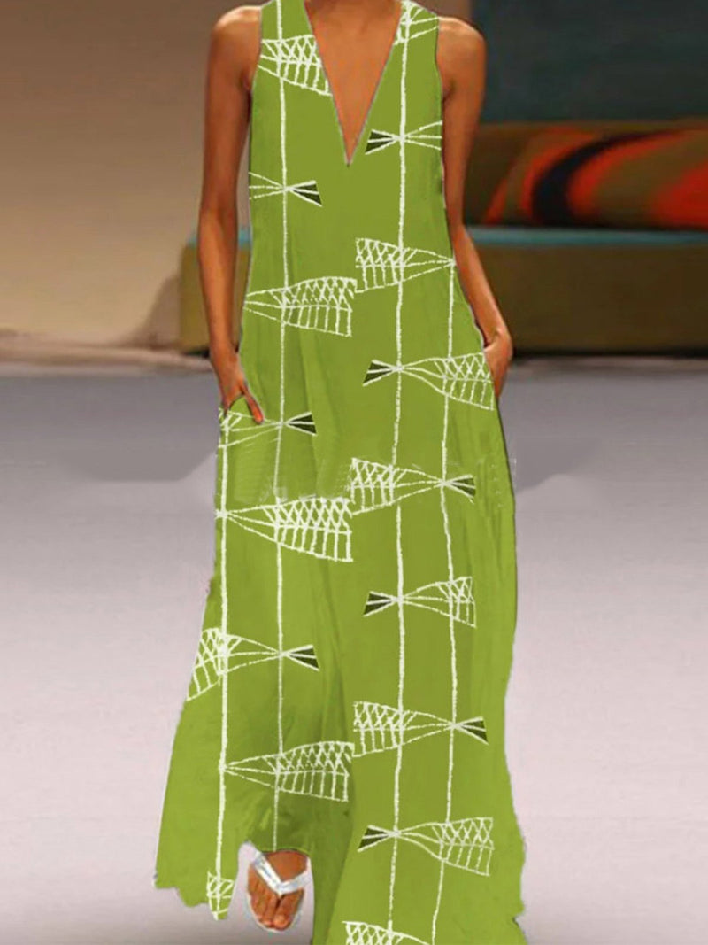 Asymmetric Fish Graphic Print Plus Size V Neck Sleeveless Maxi Dress - Popross