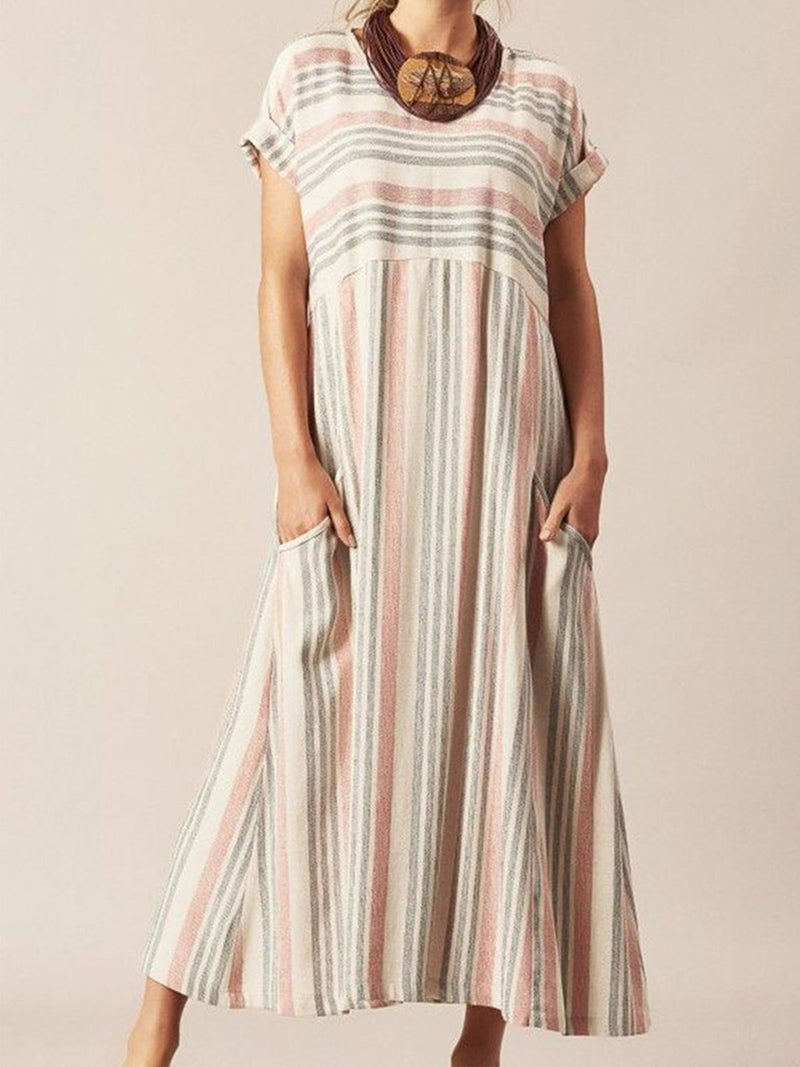 Multicolor Stripe Crew Neck Women Casual Dresses Daily Casual Dresses - Popross