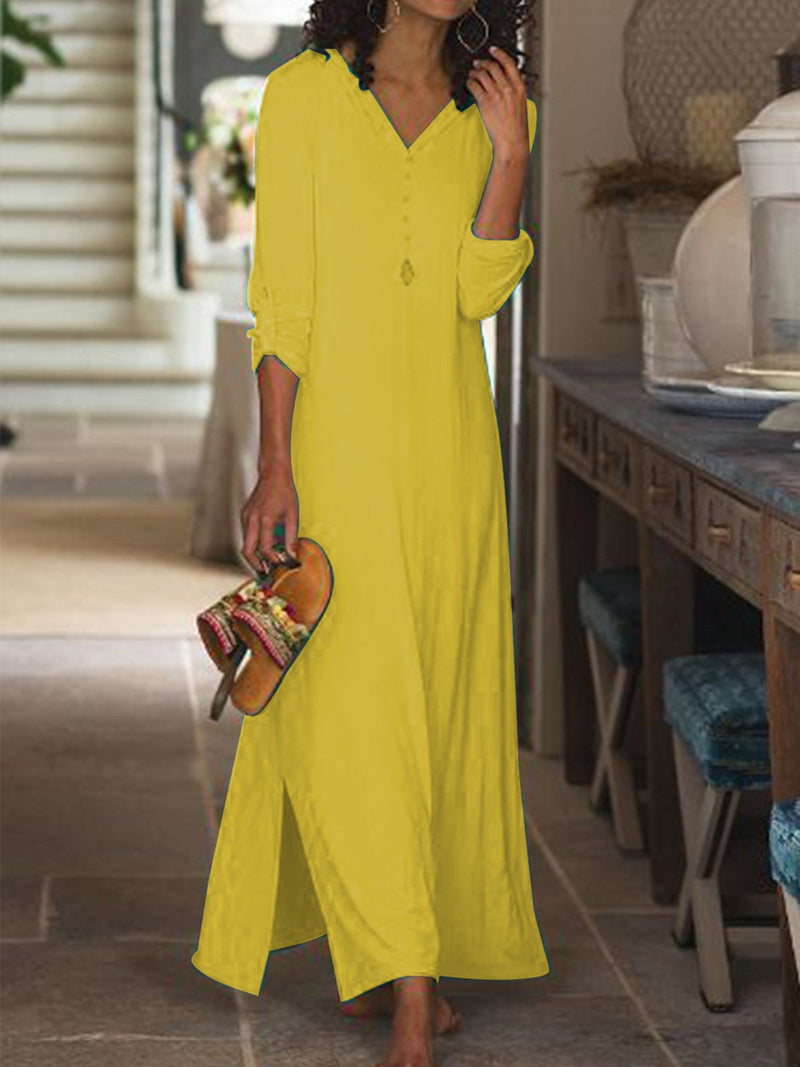 V-Neck Slit Button-Placket Plain Maxi Dress