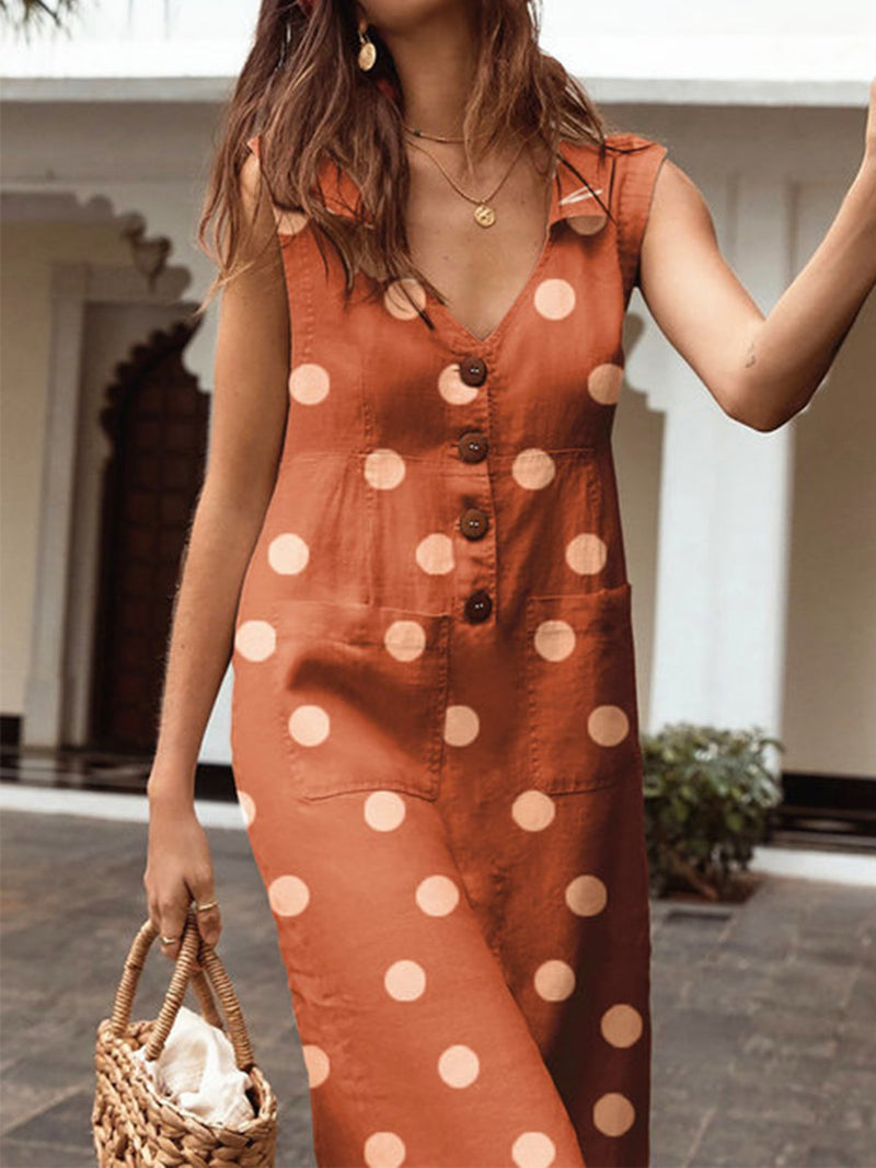 Polka Dot V Neck Patch Pocket Summer Dress - Popross