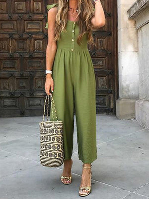 Armygreen Solid Sleeveless Button-Placket Vacation Jumpsuits - Popross