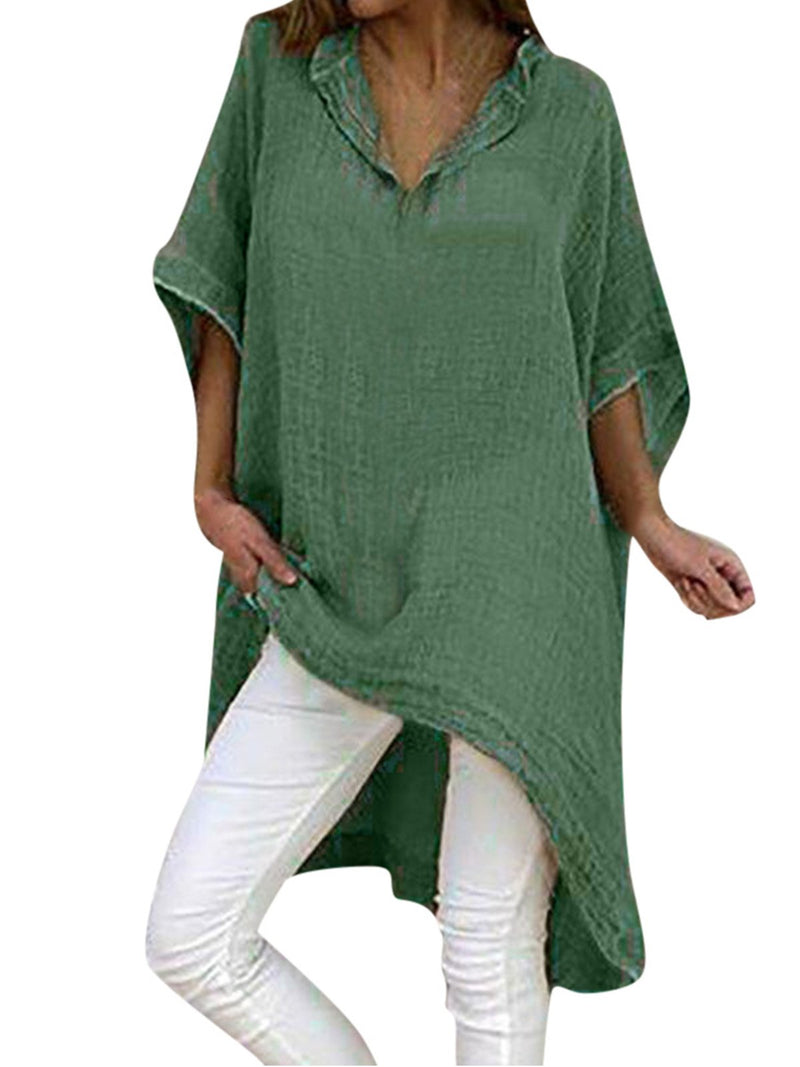 Casual Loose Asymmetric Hem Extra-Long Batwing 3/4 Sleeve Linen/Cotton Shirt - Popross