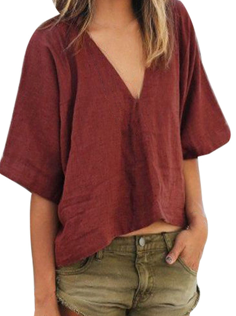 Plain Loose Linen/Cotton V Neck Half Sleeve Blouse - Popross