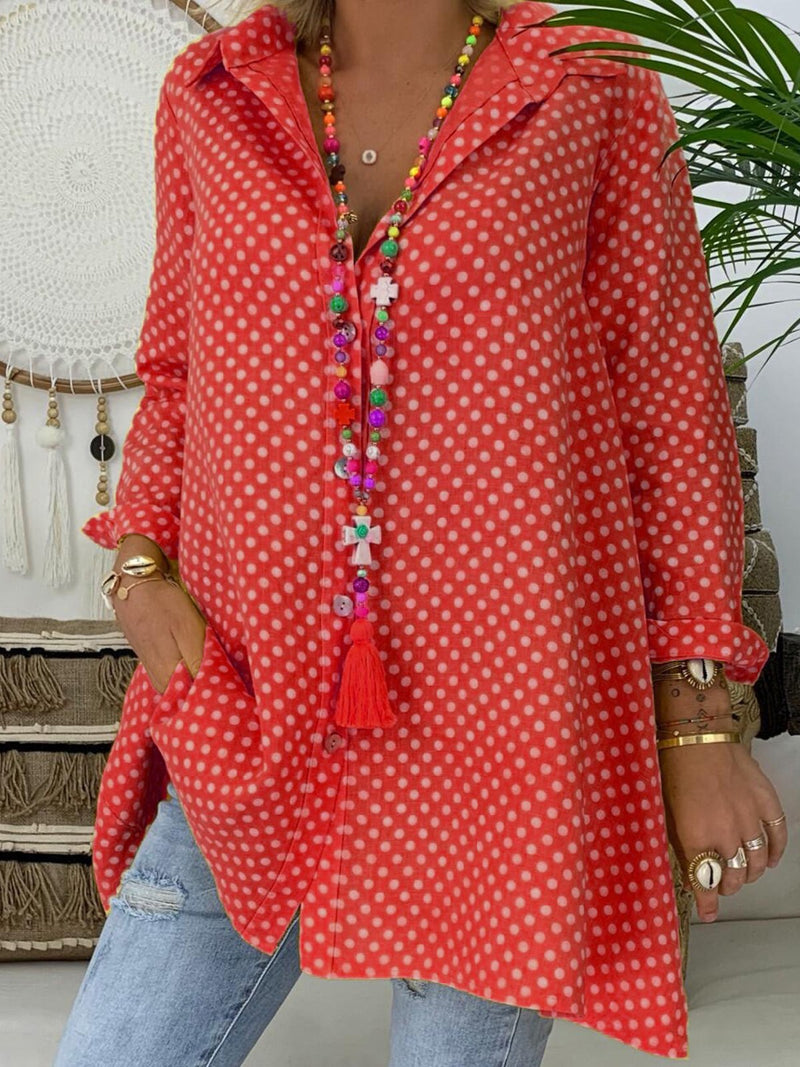 Polka Dot Print Plus Size Extra-Long Shirt - Popross