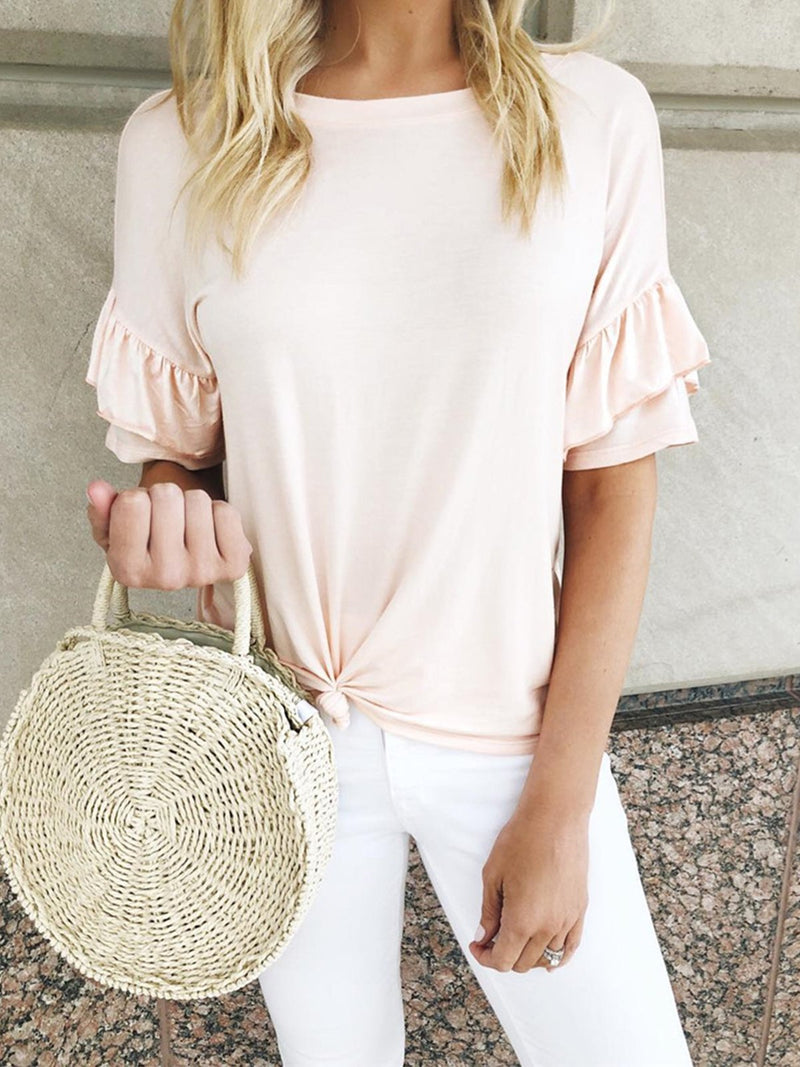 Summer Round Neck Ruffle Short Sleeve Twist Hem T-Shirt