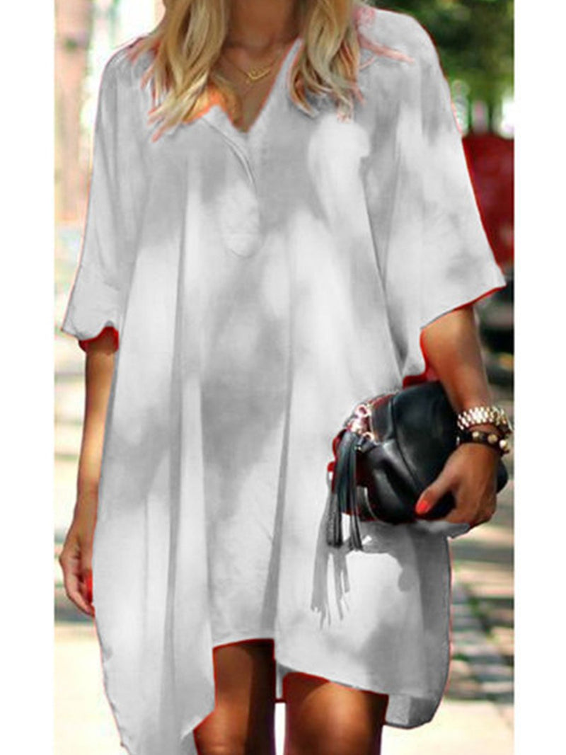 Solid V Neck Loose Plus Size T-Shirt Dress
