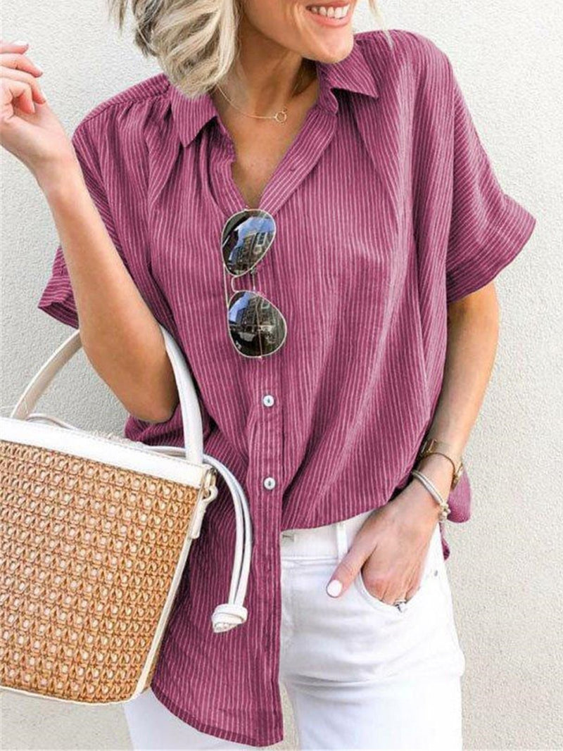 Striped Casual Loose Button-Down Shirt - Popross