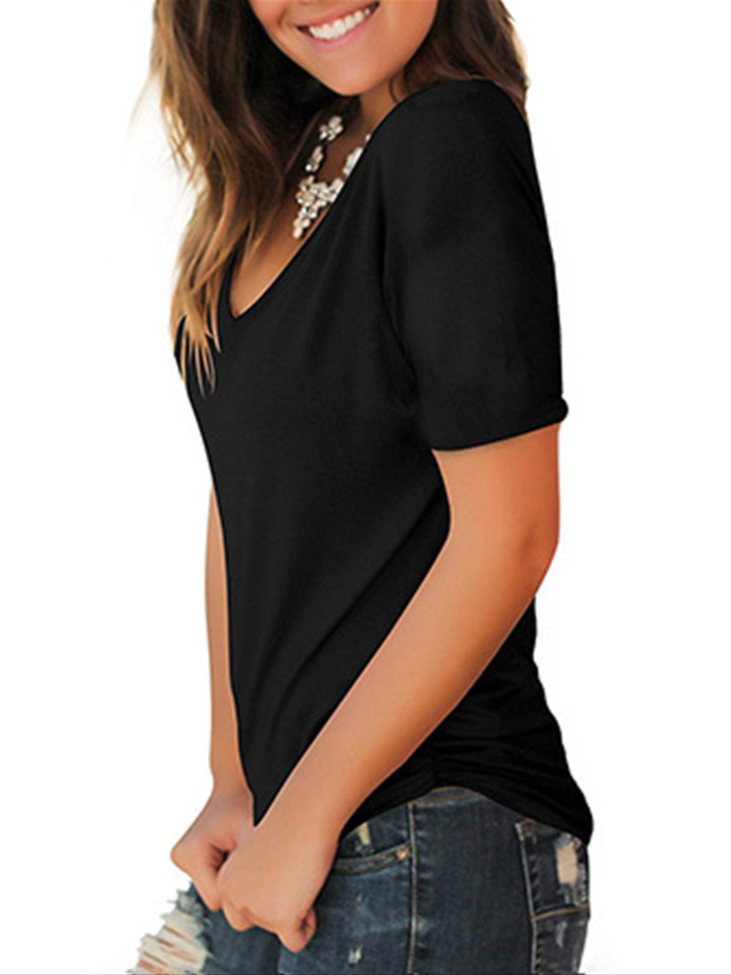 Black Solid V Neck Basic Knit T-Shirt - Popross