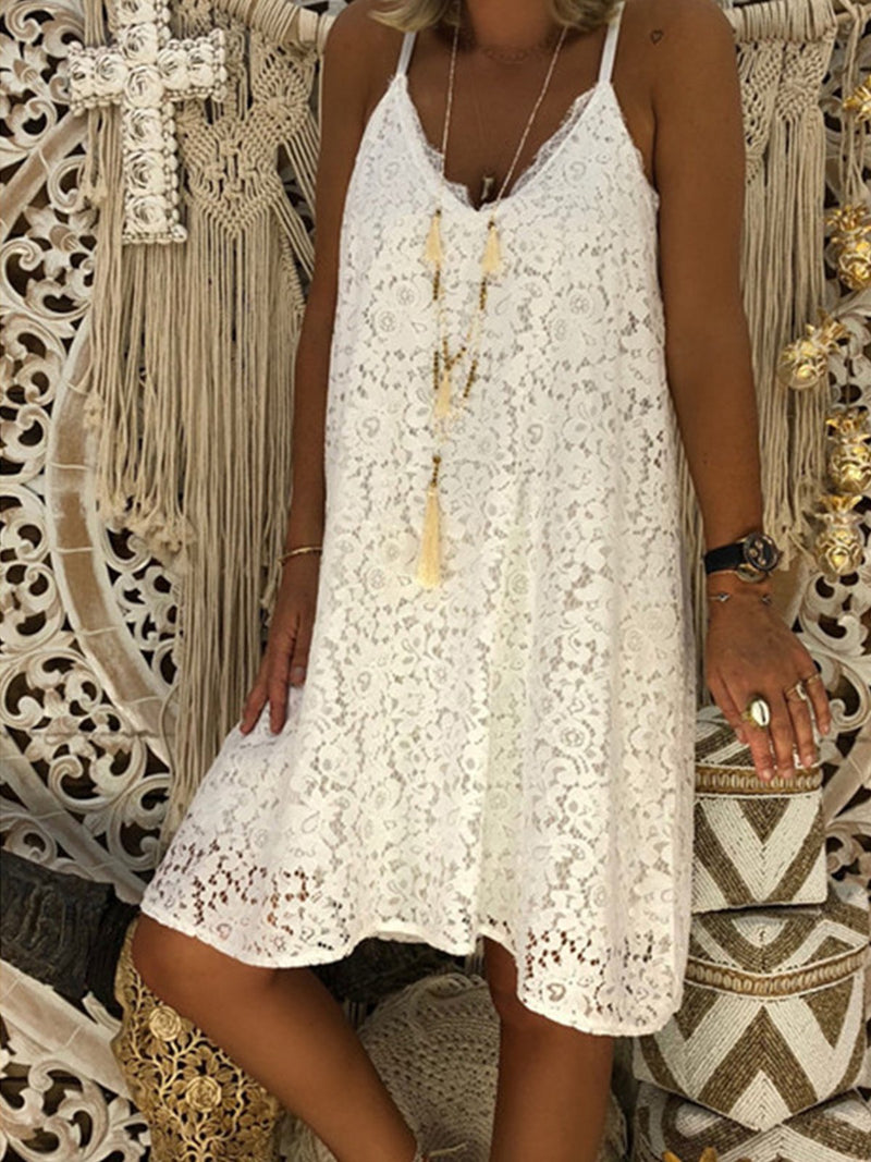 Summer Solid Sleeveless V Neck Lace Spaghetti Dress