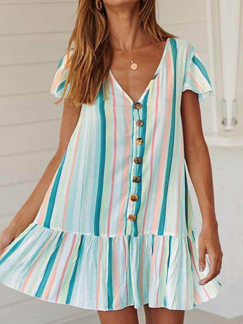 Multicolor Stripe Short Sleeve Button-Down Ruffle Hem Midi Dress - Popross