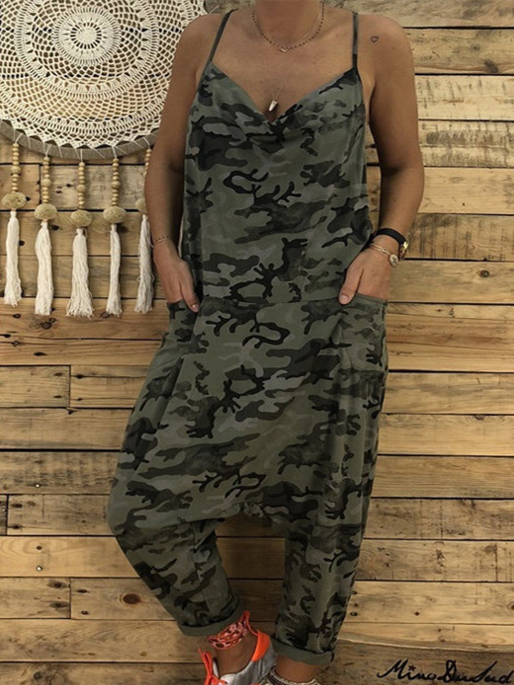 Camouflage Spaghetti With Pocket Jumpsuits - Popross