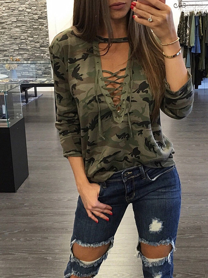 Camouflage Deep V Neck Lace-up Long Sleeve Women Blouse - Popross