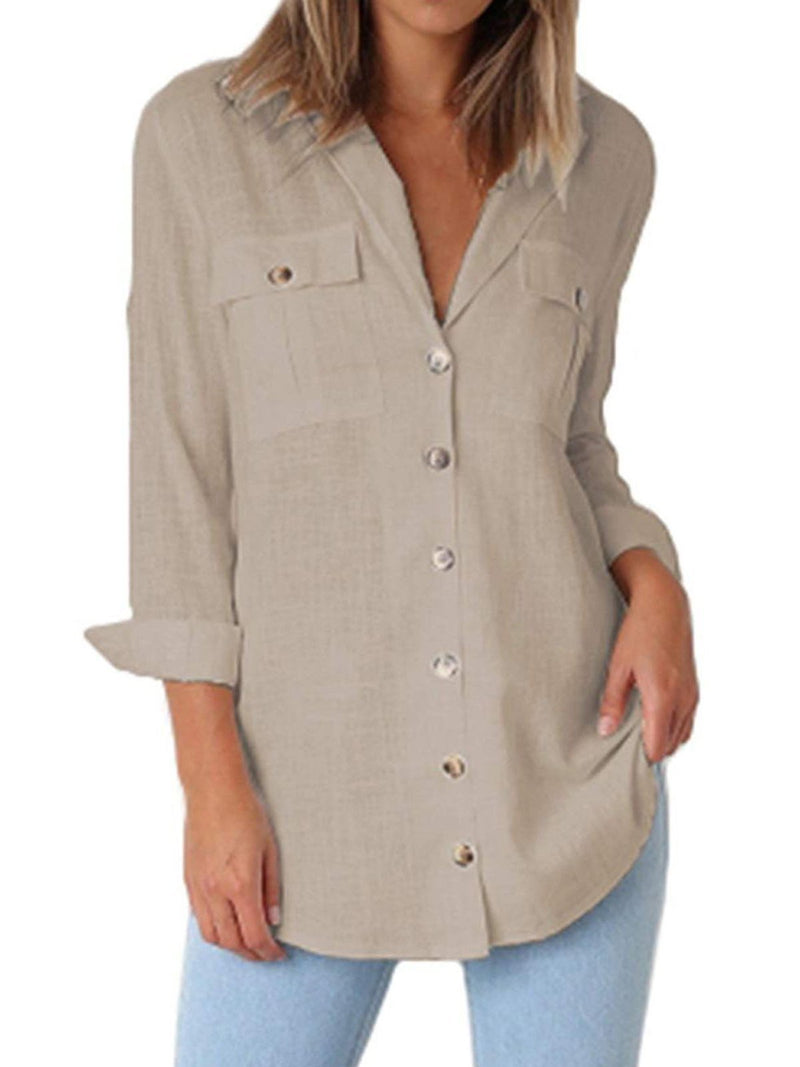 Gradient Button Long Sleeve Double Chest Pocket Casual Shirt - Popross