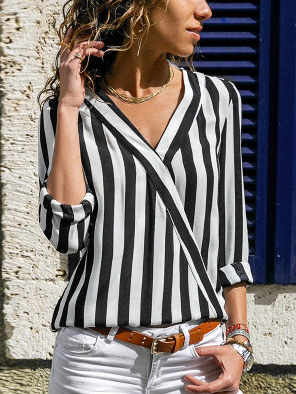 Casual V Neck Chiffon Striped Splice Shirt - Popross
