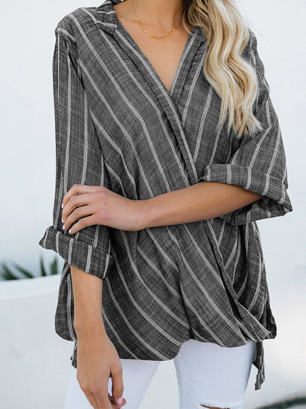 Casual Striped Asymmetrical Long Sleeve Blouse - Popross