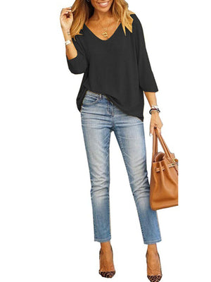 Crop-length-sleeve Loose Casual V Neck T-shirt - Popross