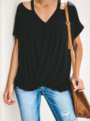 Sling V Neck Short Sleeve Casual Loose Batwing Sleeve Blouse - Popross