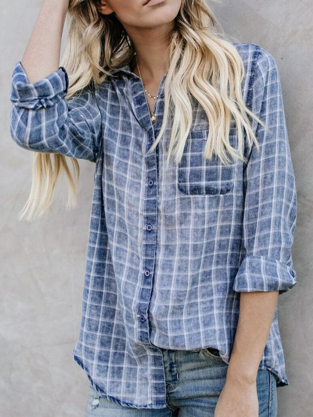 Blue Shirt Collar Checkered Print Long Sleeve Blouse - Popross