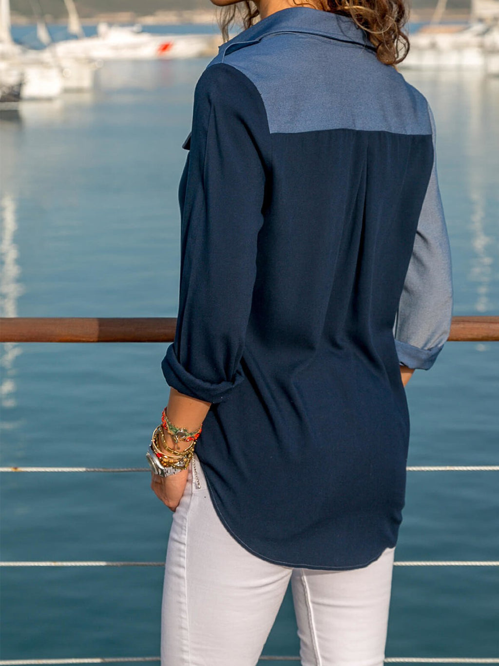 Blue Long Sleeve Cotton Pocket Casual Blouse - Popross