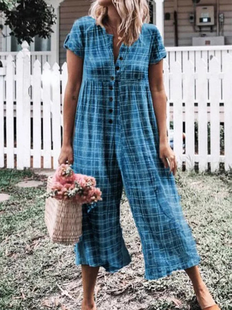 Plaid Print Single-breast Loose Jumpsuits - Popross