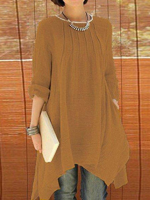 Solid Long Sleeve Crew Neck Asymmetrical Plus Size Blouse - Popross