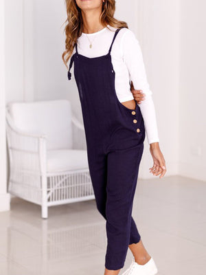 Fitting Button Cotton Spaghetti Crop-length Casual Jumpsuits - Popross