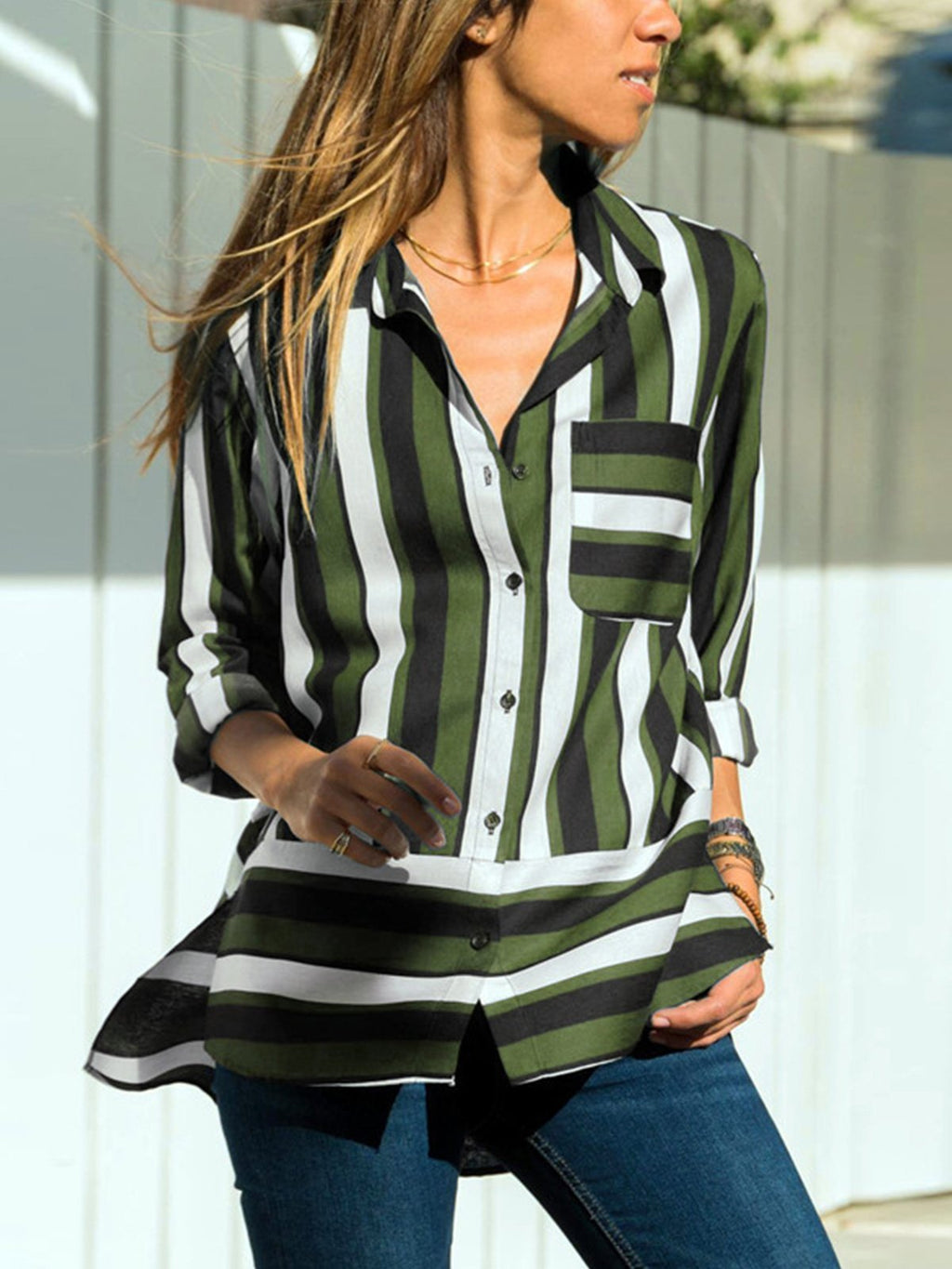 Casual Striped Paneled Pocket Chiffon Women Long Length Shirt - Popross