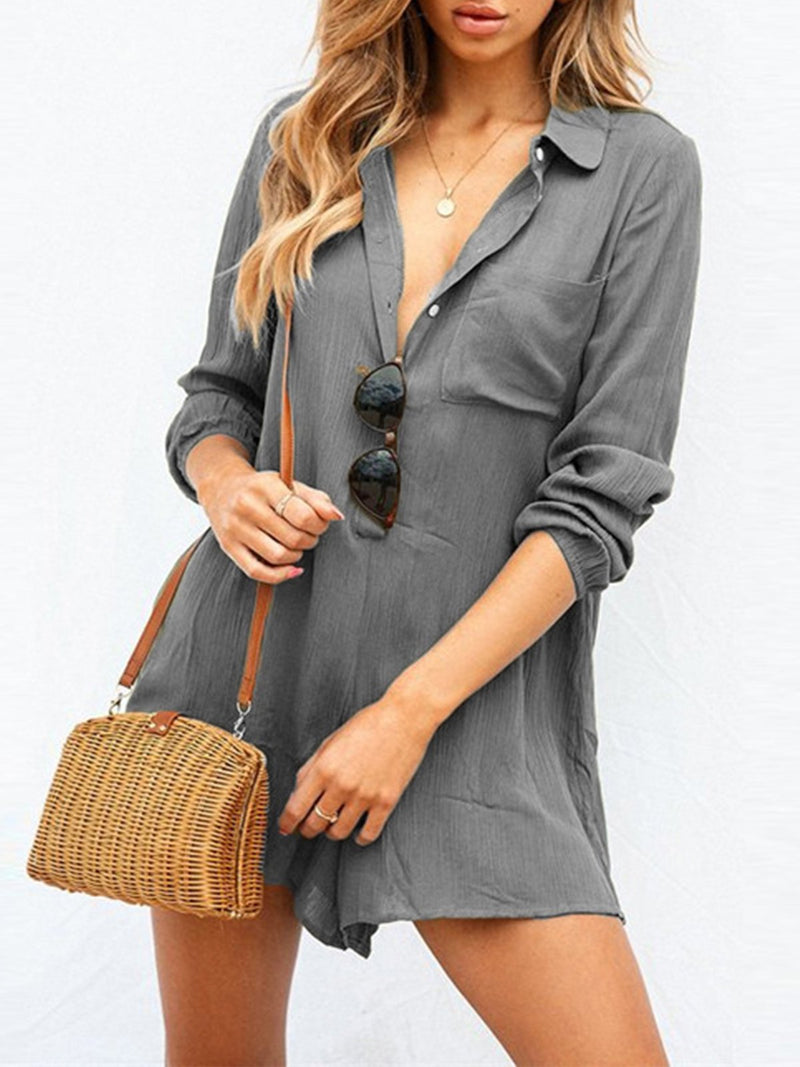 Shift Solid Women Deep V Neck Mini Shirt Collar Mini Jumpsuit
