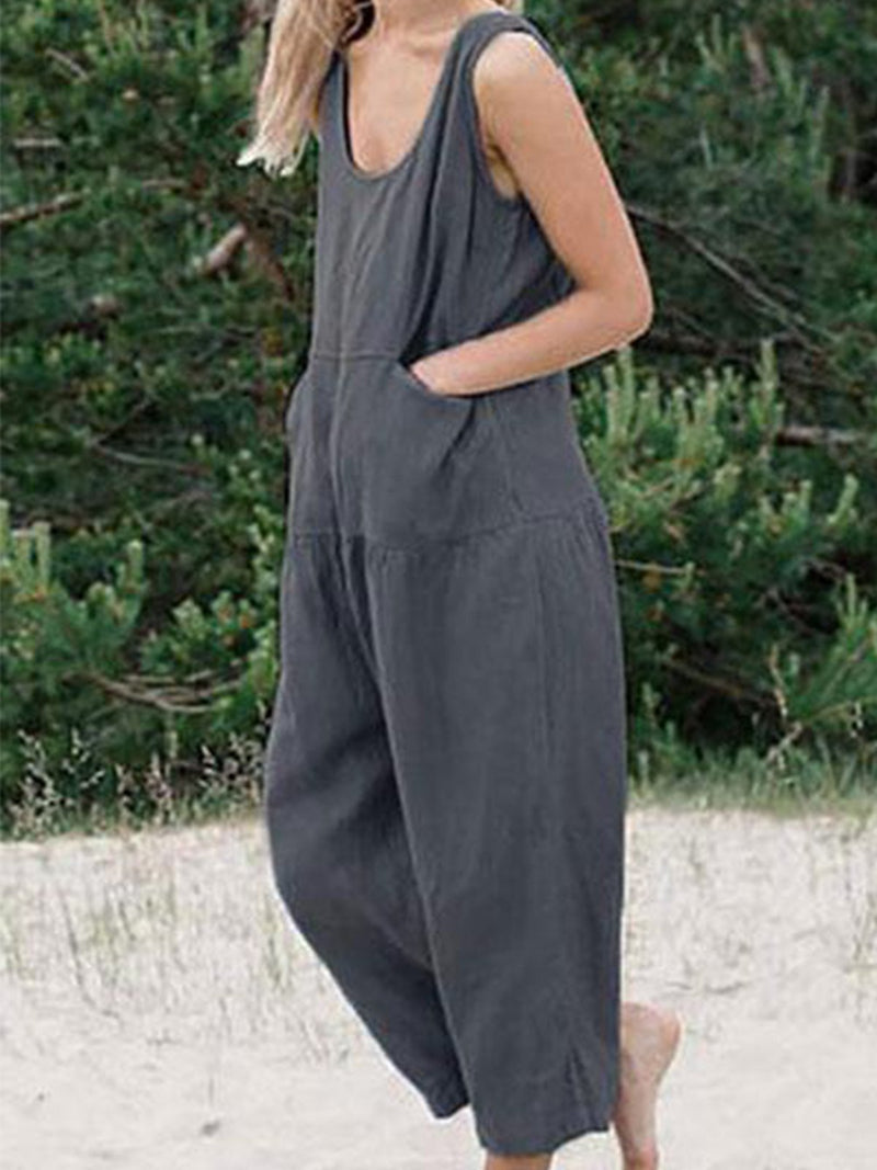 Plain Strap Shoulder Pocket Linen/Cotton Jumpsuits - Popross