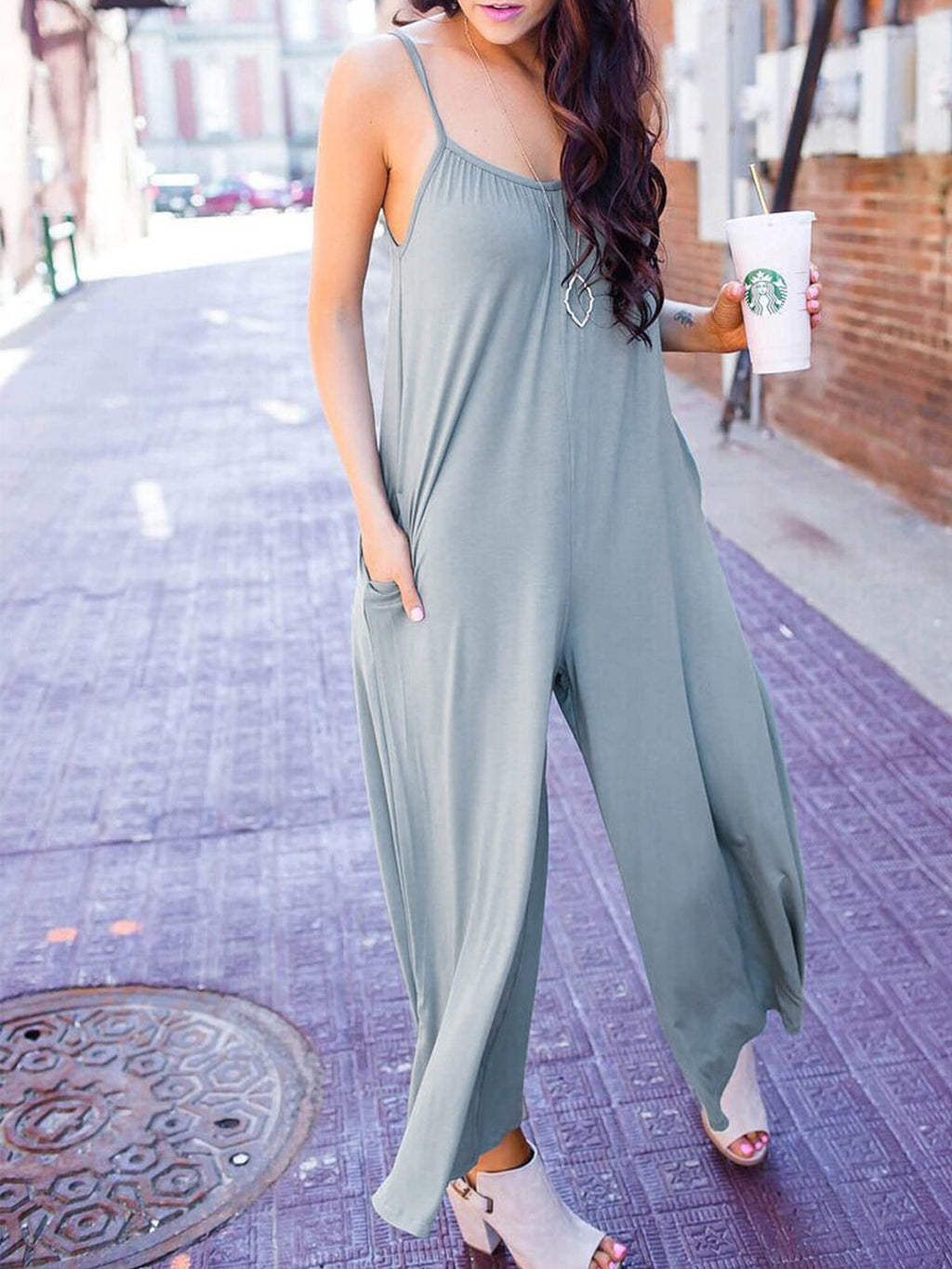Pure Grey Knit Casual Bagged Loose Spaghetti Jumpsuits - Popross