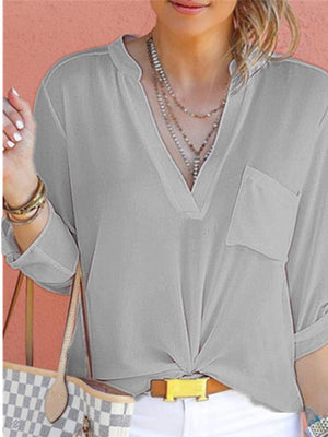 V Neck Stand Collar Solid Chiffon Pocket Long Sleeve Shirt - Popross