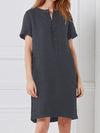 Short Sleeve Linen/Cotton A-Line Midi Women Dress - Popross