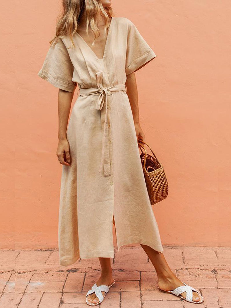 Khaki V-Neck Belt Cotton And Linen Comfort Dress - Popross
