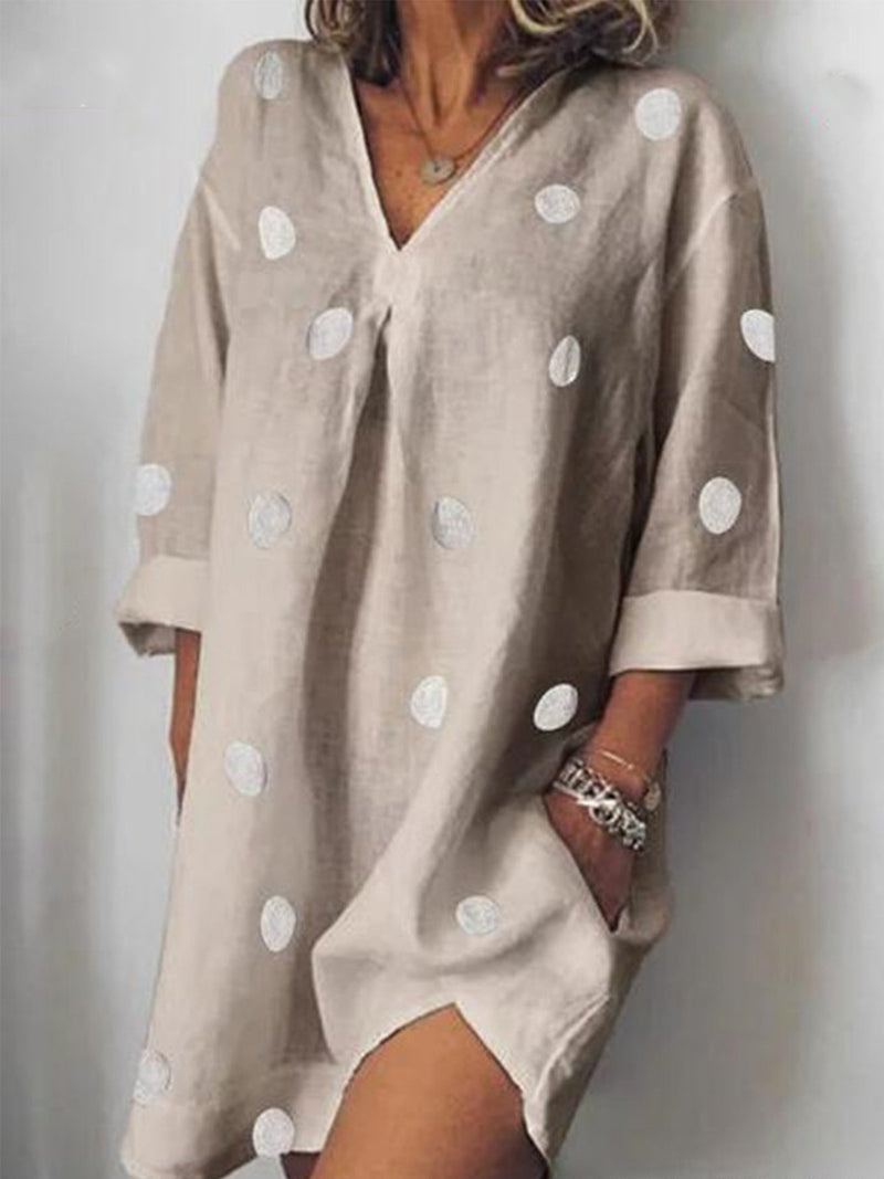 Polka Dot Print Casual V Neck Pocket Midi Dress - Popross