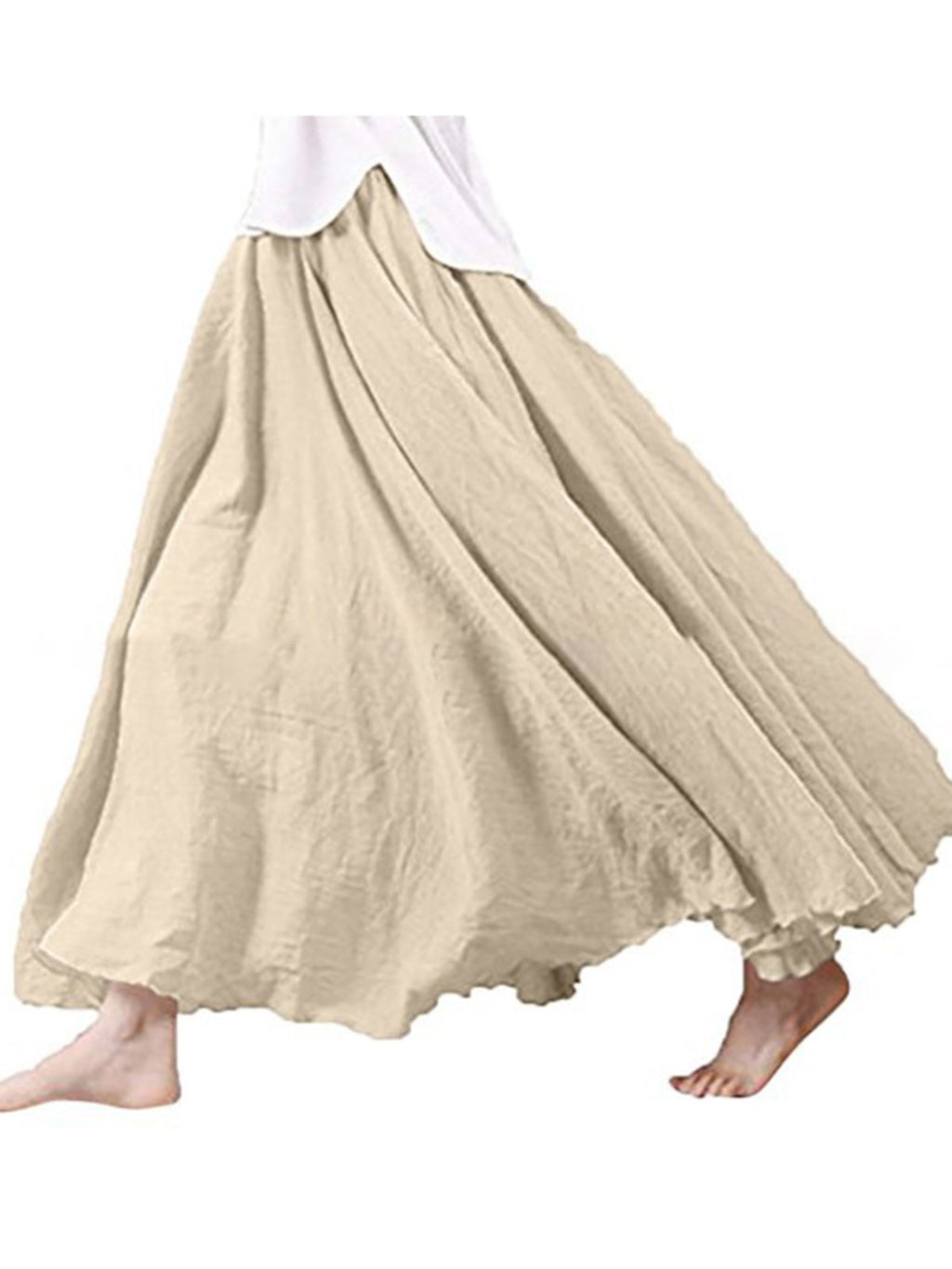 Solid Linen/Cotton Midi Length Ruffle Skirt