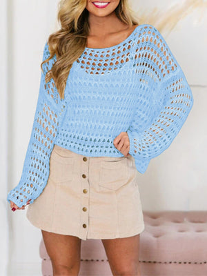 Hollow Fish-net Knitted Cover-up Top - Popross