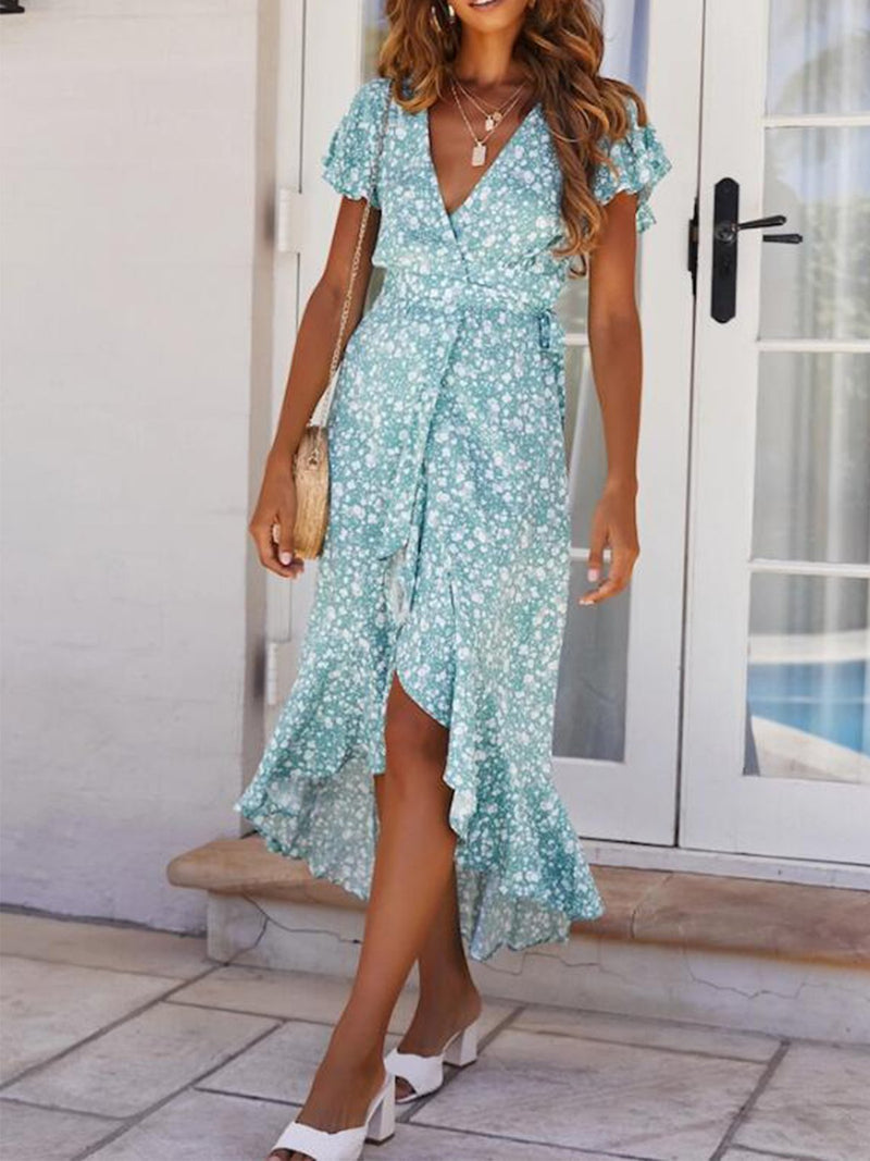 Lightblue Floral Print V Neck Ruffle Sleeve Ruffle Hem Dress - Popross