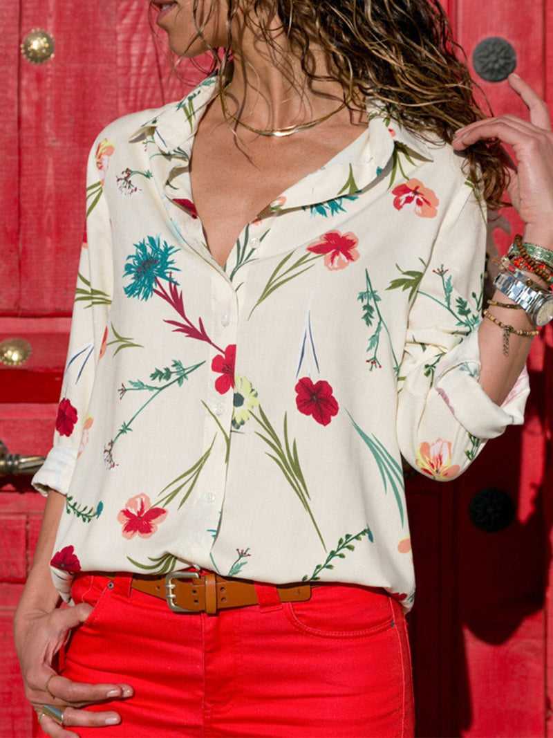 Casual Floral Print Long Sleeve Lapel Shirt - Popross