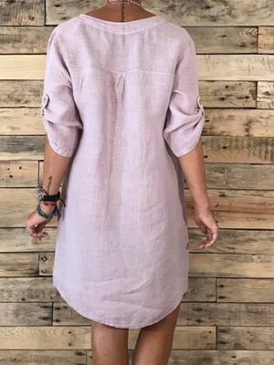 V Neck Stand Collar 3/4 Sleeve Plain Dress