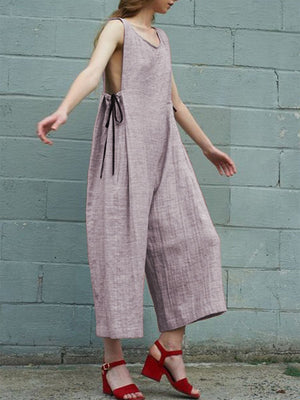 Simple Vest Wide-leg Side-tied Jumpsuits