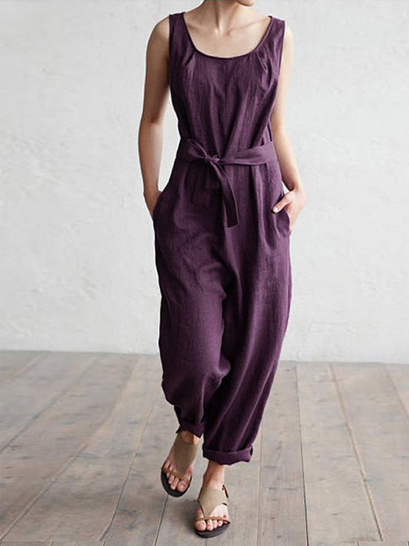 Casual sleeveless cotton jumpsuits with pockets - Popross