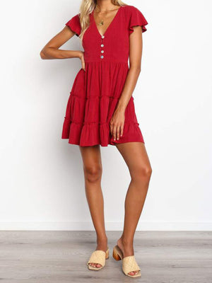 Multi-Layer Button-Placket Short Sleeve Mini Dress - Popross