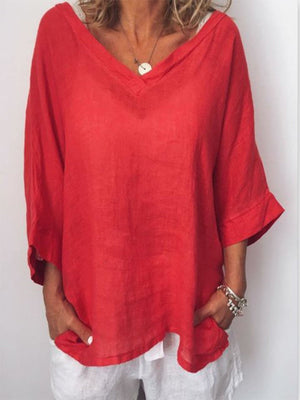 Solid V Neck 3/4 Sleeve Loose Blouse - Popross