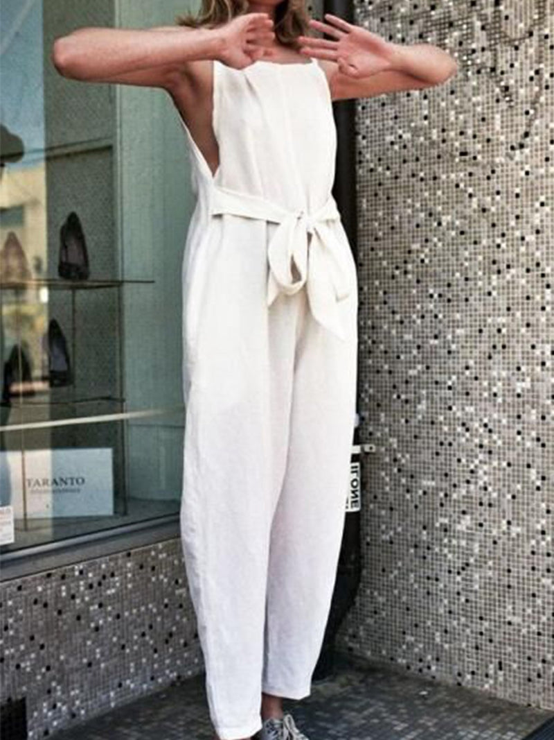 Solid Sleeveless Self-tied Waist Jumpsuits