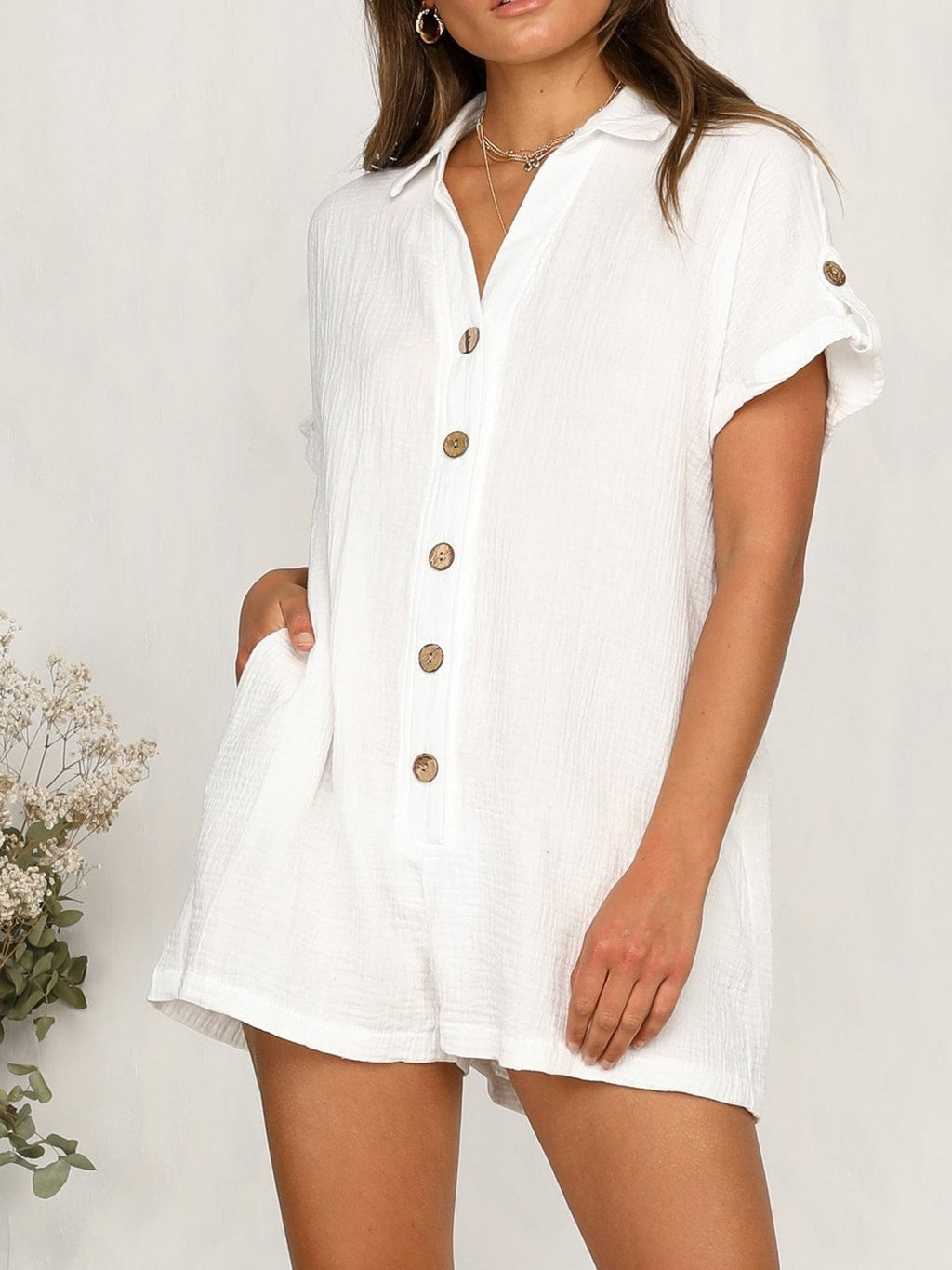 Solid Short Sleeve Buttoned Shirt Jumpsuits
