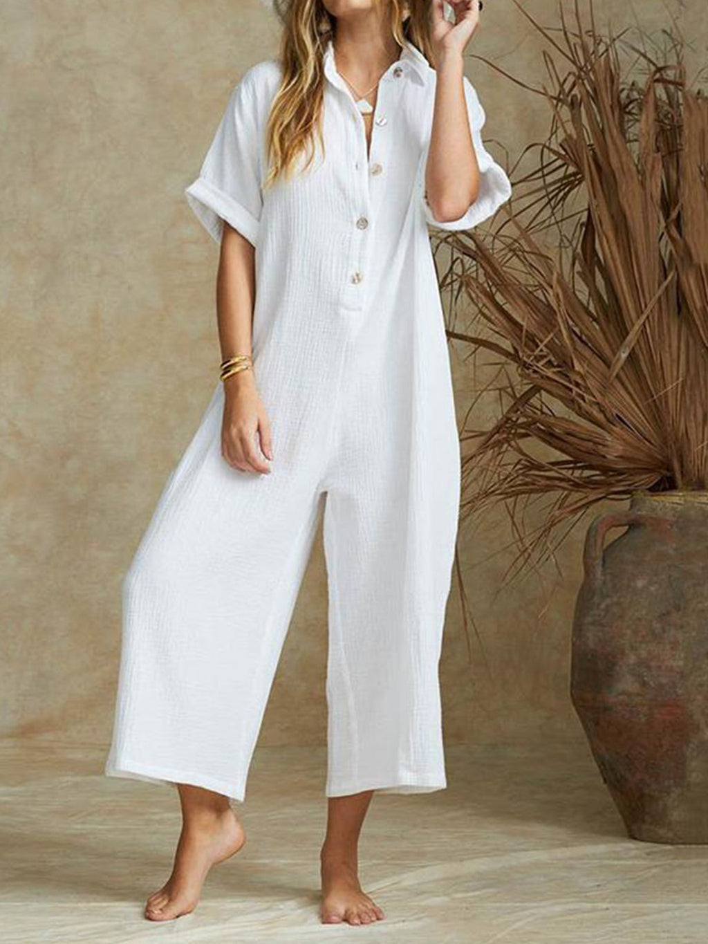 Solid Linen/Cotton Casual High Rise Crop Length Jumpsuits